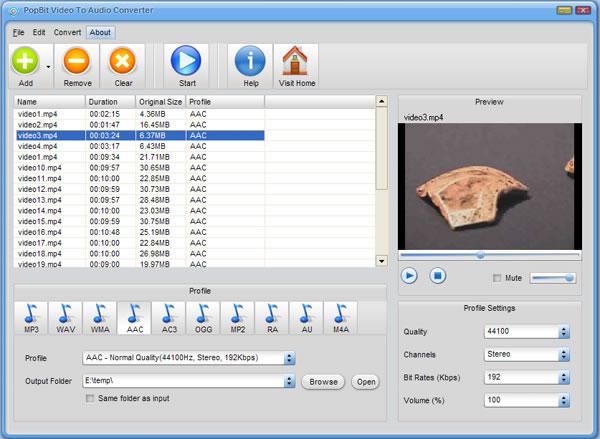 PopBit Video to Audio Converter Screenshot