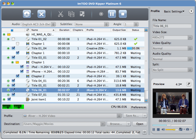 ImTOO DVD Ripper Platinum 6 for Mac Screenshot
