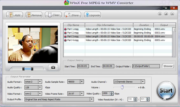 WinX Free MPEG to WMV Converter Screenshot