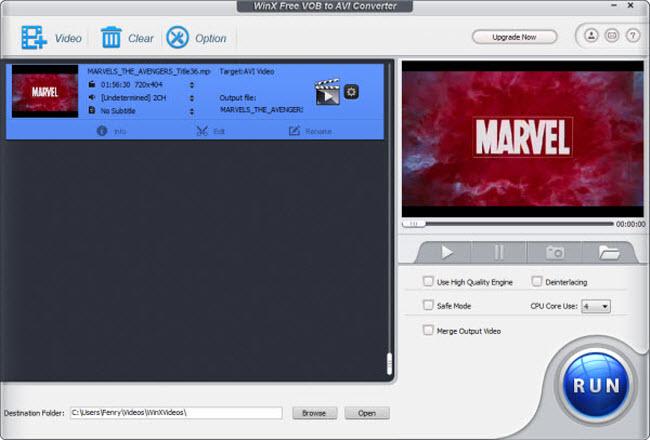WinX Free VOB to AVI Converter Screenshot 3