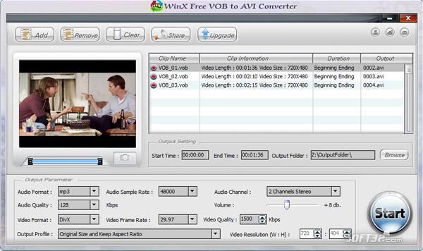 WinX Free VOB to AVI Converter Screenshot 2