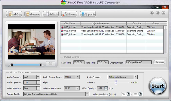 WinX Free VOB to AVI Converter Screenshot 1