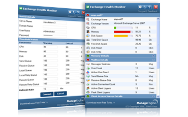 ManageEngine Exchange Health Monitor Screenshot 1