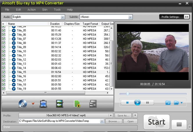 AinSoft Blu-ray to MP4 Converter Screenshot