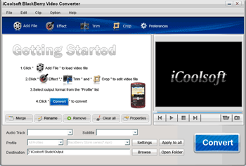 iCoolsoft BlackBerry Video Converter Screenshot