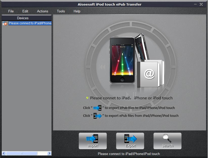 Aiseesoft iPod touch ePub Transfer Screenshot 1