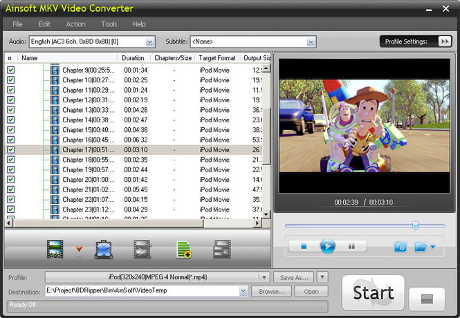Ainsoft MKV Video Converter Screenshot