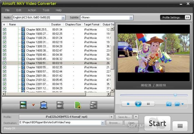 Ainsoft MKV Video Converter Screenshot 2