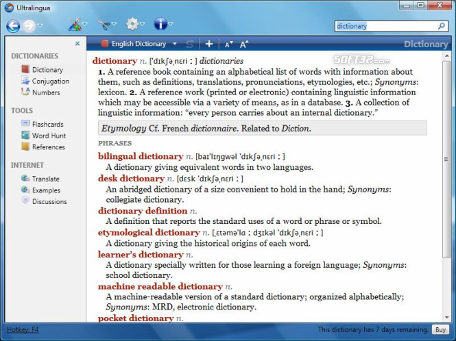 French Dictionary & Thesaurus by Ultralingua for Windows Screenshot 2
