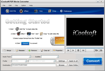 iCoolsoft PSP Movie Converter Screenshot 1