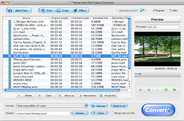 Aimersoft iPod Video Converter for Mac Screenshot