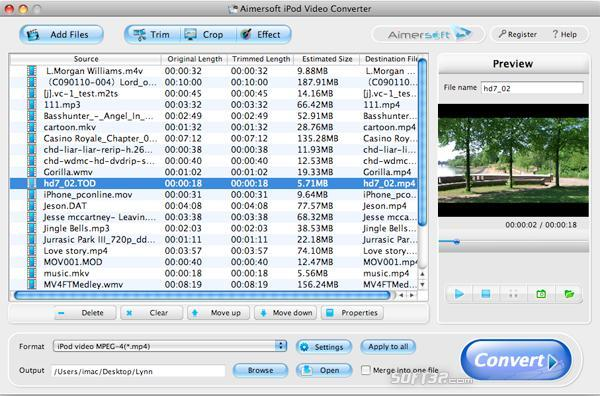 Aimersoft iPod Video Converter for Mac Screenshot 2
