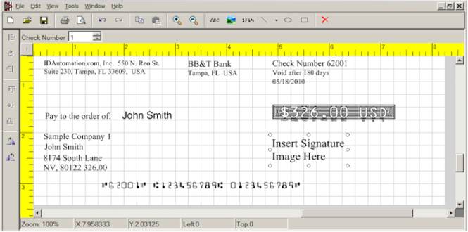 IDAutomation Check Printing Software Screenshot