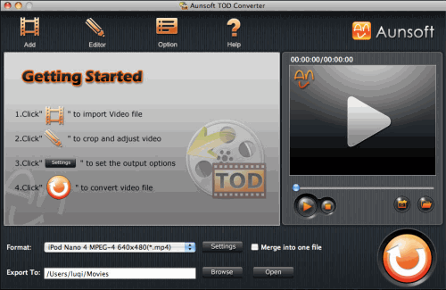 Aunsoft TOD Converter for Mac Screenshot