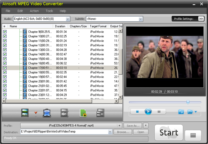 Ainsoft MPEG Video Converter Screenshot