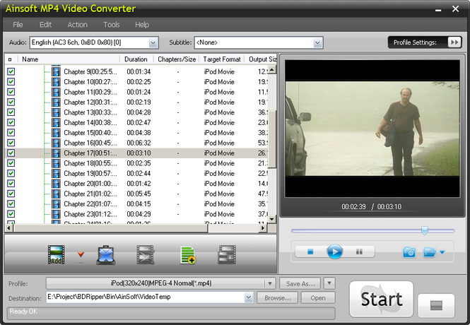 Ainsoft MP4 Video Converter Screenshot