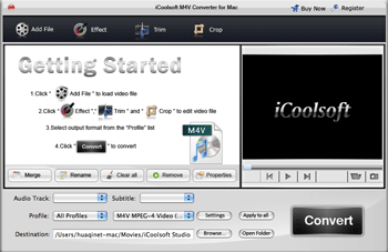 iCoolsoft M4V Converter for Mac Screenshot