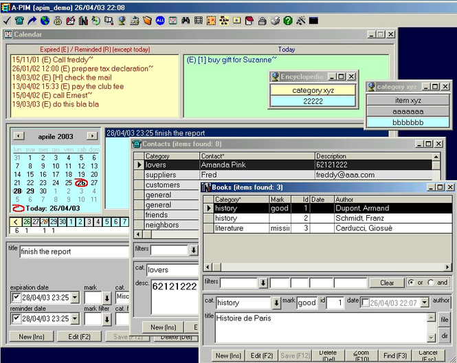 A-PIM (All-in-1 Personal Information Manager) Screenshot