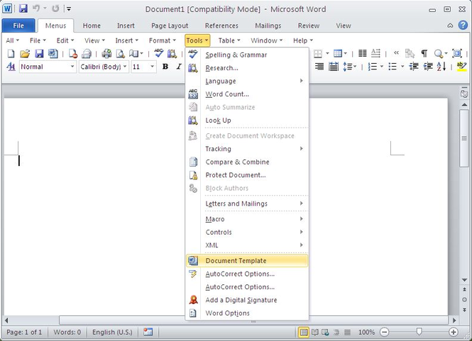 Classic Menu for Word 2010 Screenshot 1