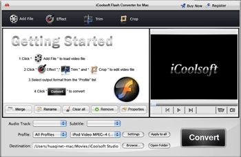 iCoolsoft Flash Converter for Mac Screenshot
