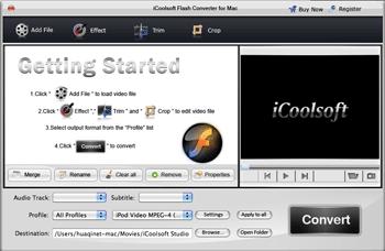 iCoolsoft Flash Converter for Mac Screenshot 1