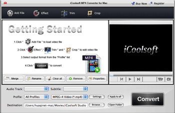 iCoolsoft MP4 Converter for Mac Screenshot