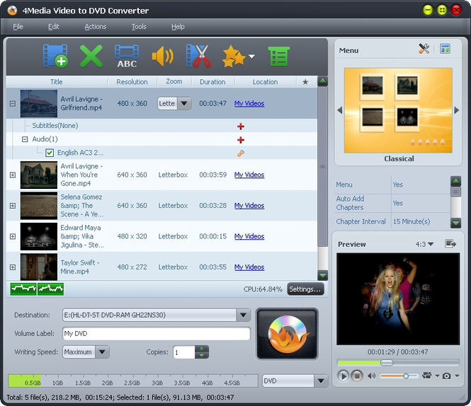 4Media Video to DVD Converter Screenshot 1