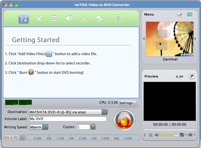 ImTOO Video to DVD Converter for Mac Screenshot
