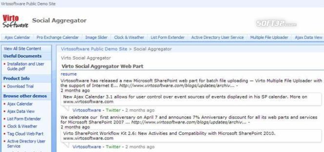 Social Aggregator Web Part for SharePoint Screenshot 2
