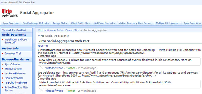 Social Aggregator Web Part for SharePoint Screenshot