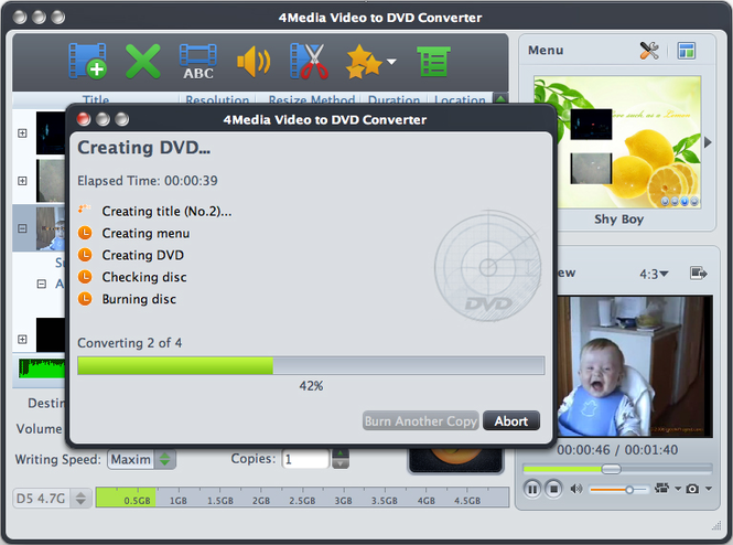 4Media Video to DVD Converter for Mac Screenshot