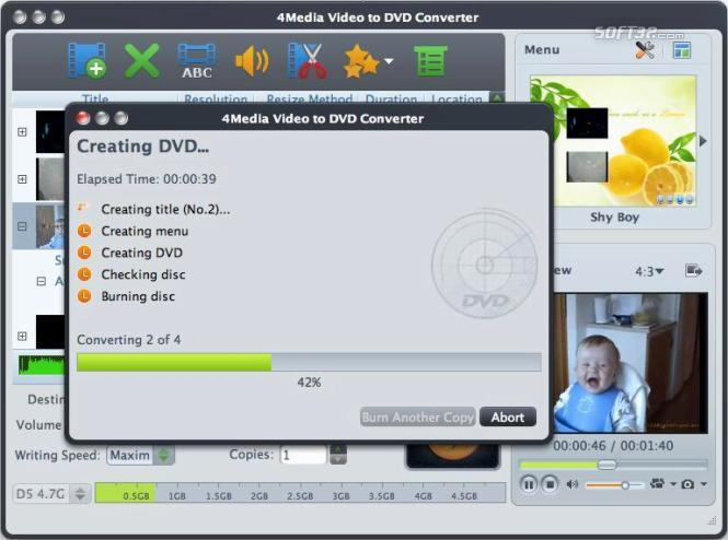 4Media Video to DVD Converter for Mac Screenshot 2