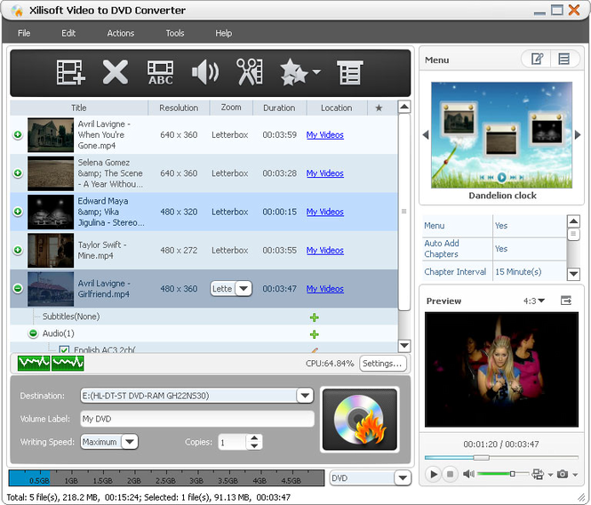 Xilisoft Video to DVD Converter Screenshot 1
