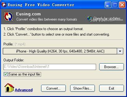Eusing Free Video Converter Screenshot 2