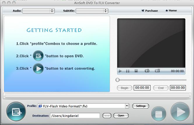Ainsoft DVD to FLV Converter for Mac Screenshot 1