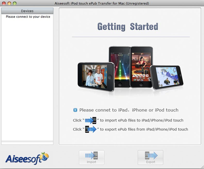 Aiseesoft Mac iPod touch ePub Transfer Screenshot