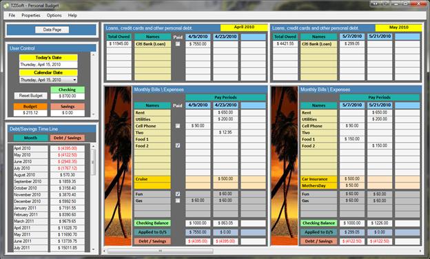 TZISoft - Personal Budget Screenshot