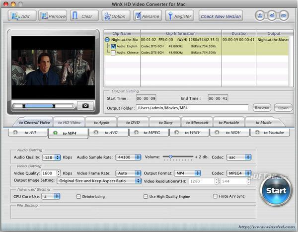 WinX HD Video Converter for Mac Screenshot 3