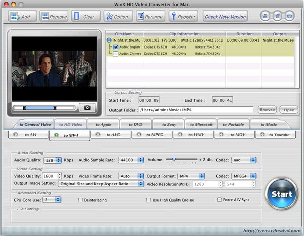 WinX HD Video Converter for Mac Screenshot 1