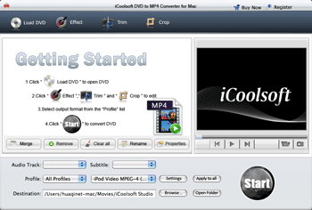 iCoolsoft DVD to MP4 Converter for Mac Screenshot 1