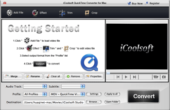 iCoolsoft QuickTime Converter for Mac Screenshot