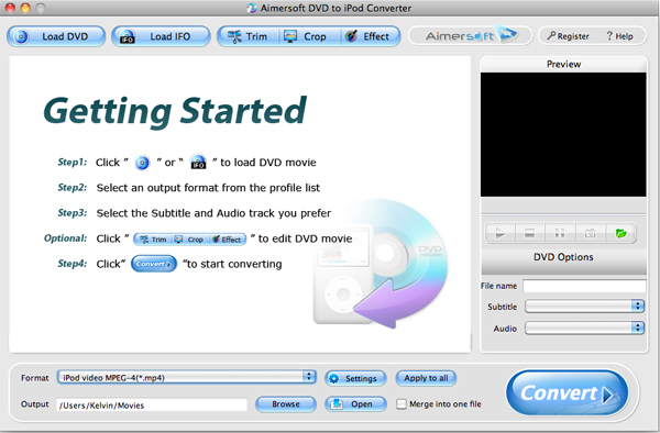 Aimersoft DVD to iPod Converter for Mac Screenshot