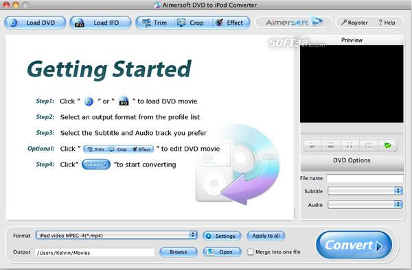 Aimersoft DVD to iPod Converter for Mac Screenshot 3