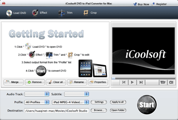 iCoolsoft DVD to iPad Converter for Mac Screenshot