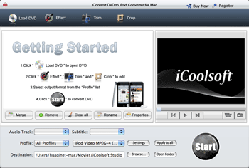 iCoolsoft DVD to iPod Converter for Mac Screenshot