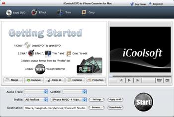 iCoolsoft DVD to iPhone Converter Mac Screenshot 1