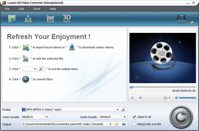 Leawo HD Video Converter Screenshot
