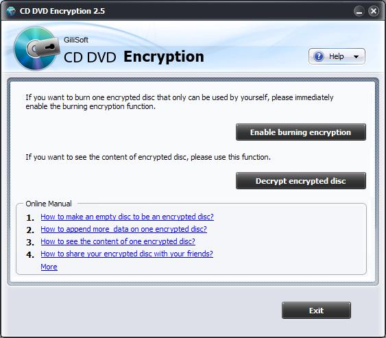 GiliSoft CD DVD Encryption Screenshot 1