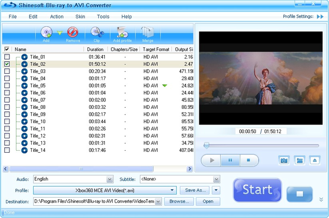 Shinesoft Blu-ray to AVI Converter Screenshot 1