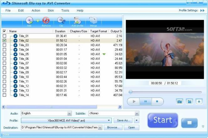 Shinesoft Blu-ray to AVI Converter Screenshot 3